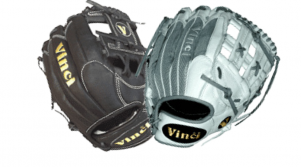 baseball glove and a softball glove